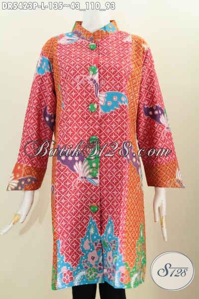 Batik Dress Terbaru Dengan Kancing Besar, Baju Batik Halus Proses Printing Motif Keren Tampil Gaya Dengan Harga Murah Meriah [DR5423P-L]