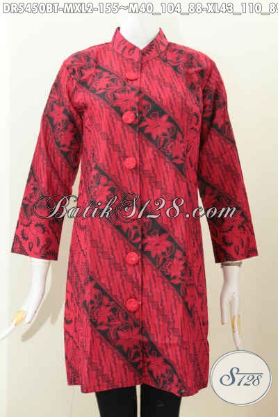 Baju Batik Dress Monokrom Buatan Solo, Busana Batik Elegan Dan Berkelas Model Kerah Shanghai Warna Merah Hitam Motif Bagus Proses Kombinasi Tulis Hanya 150 Ribuan [DR5450BT-XL]