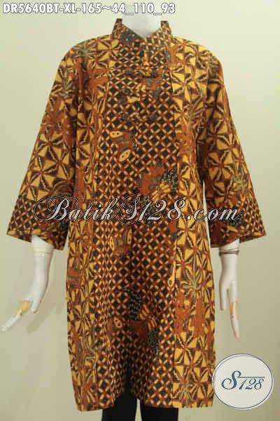 Jual Dress Batik Ukuran XL, Pakaian Batik Dengan Kancing Zig-Zag Motif Klasik Pakai Kerah Shanghai Lebih Modis Dan Elegan [DR5640BT-XL]