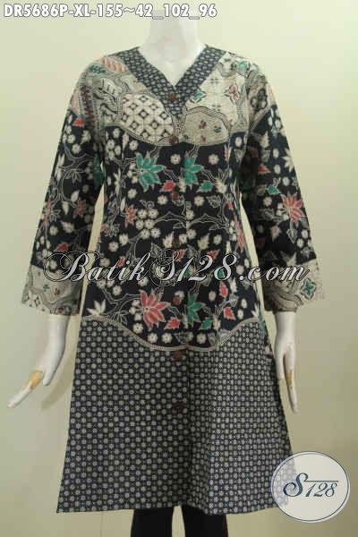 Batik Dress Krah V Buatan Solo, Baju Batik Istimewa Buat Wanita Dewasa Terlihat Elegan Dan Mempesona, Berbahan Halus Motif Bagus Proses Printing Hanya 155 Ribu [DR5686P-XL]