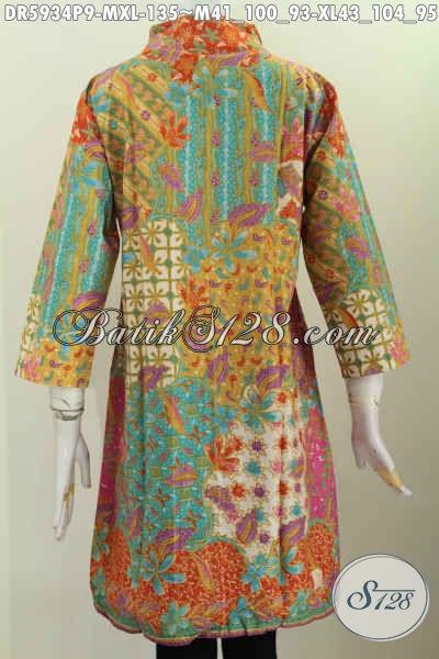 Toko Baju Batik Online, Sedia Dress Batik Kerah Langsung Motif Bagus Proses Printing Yang Modis Buat Kerja Dan Acara Formal [DR5934P-XL]