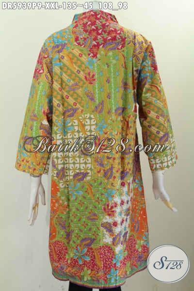 Baju Dress Jumbo Bahan Batik Printing, Busana Batik Halus Dan Istimewa Buatan Solo Untuk Wanita Gemuk Tampil Gaya Mode Kerah Langsung [DR5939P-XXL]