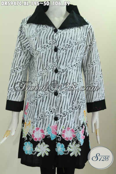 Baju Batik Wanita Dewasa, Pakaian Batik Motif Modern Klasik Proses Cap Model Kerah Langsung Harga 190 Ribuan [DR5947C-XL]