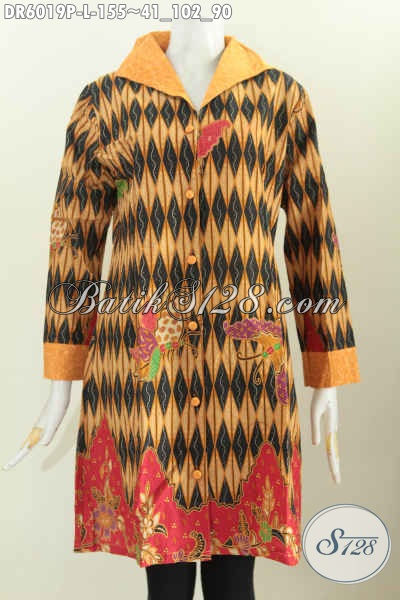 Dress Batik Elegan Desain Formal Bahan Halus Kombinasi Emboss Motif Terkini Proses Printing [DR6019P-L]