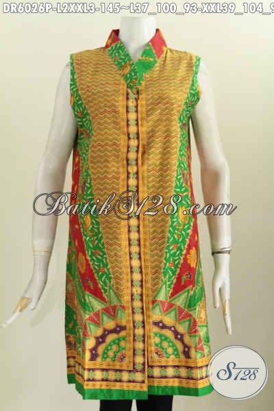 Baju Batik Modern Keren Modis Bahan Halus Desain Tanpa Lengan, Baju Batik Klasik Proses Printing Untuk Hangout [DR6026P-L]