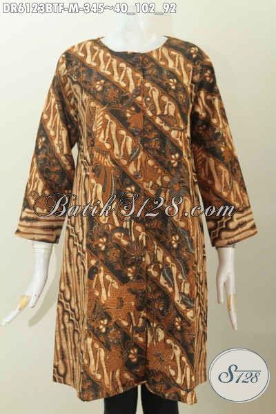 Busana Batik Elegan Berkelas Model Tanpa Krah, Berbahan Halus Kombinasi 2 Motif Daleman Pake Furing Harga 345K [DR6123BTF-M]