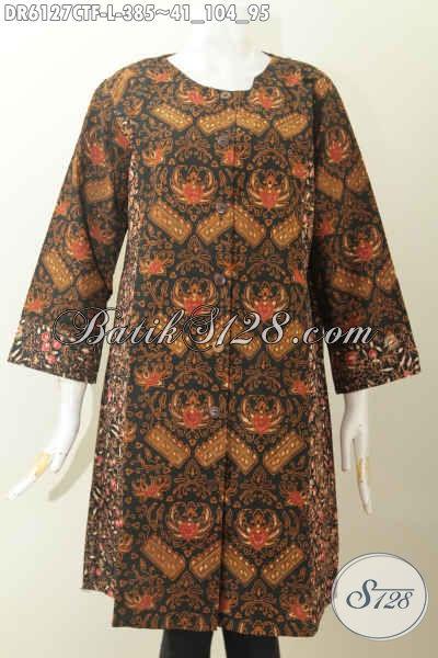 Jual Baju Dress Batik Untuk Kerja, Hadir Dengan Model Tanpa Kerah Bahan Halus Dual Motif Full Furing Proses Cap Tulis [DR6127CTF-L]