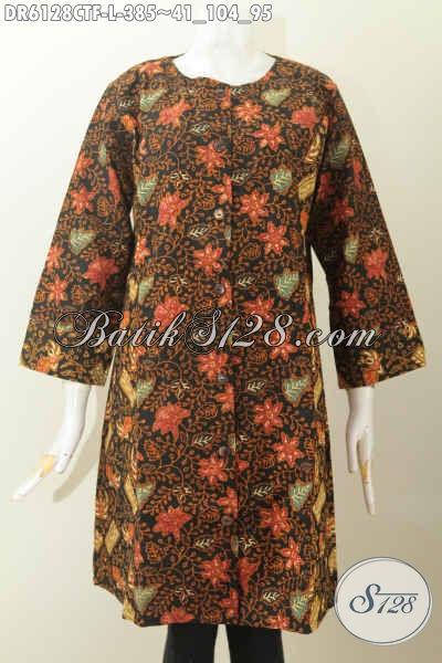 Baju Batik Elegan, Busana Batik Mewah Model Terusan Tanpa Krah, Dress Batik Berkelas Full Furing Dual Motif Proses Cap Tulis 385 Ribu [DR6128CTF-L]