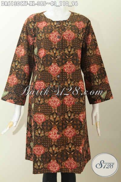 Jual Pakaian Dress Batik Mewah Proses Cap Tulis, Busana Batik Tanpa Krah Bahan Halus Daleman Full Furing Untuk Tampil Gaya Dan Modern [DR6130CTF-XL]