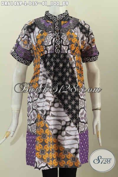 Dress Batik Keren, Baju Batik Modern Buatan Solo Asli Untuk Perempuan Yang Ingin Tampil Cantik Mempesona [DR6146P-L]