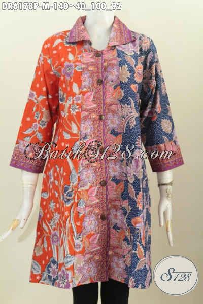 Dress Batik Printing Motif Kombinasi, Baju Batik Kerah Kotak Bahan Adem Warna Trendy, Istimewa Buat Santai Dan Formal [DR6178P-M]