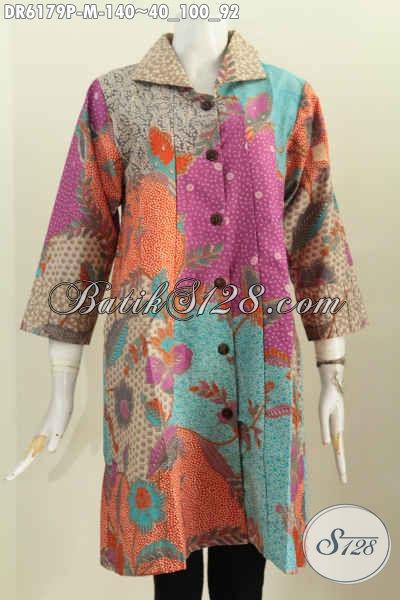 Pusat Online Busana Batik Solo, Sedia Dress Kerah Kotak Kwalitas Bagus Hanya 100 Ribuan, Bahan Adem Motif Istimewa Proses Printing [DR6179P-M]