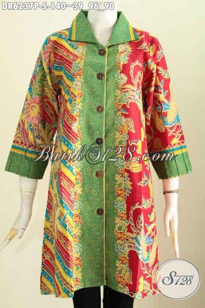Dress BatikKerah Kotak Motif Bagus Desain Berkelas Untuk Penampilan Lebih Elegan Dan Mewah [DR6237P-S]