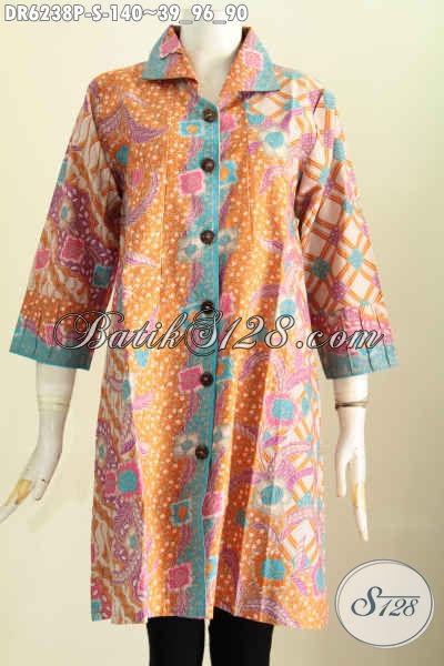Dress Batik Modern Keren Model Kerah Kotak Motif Bagus Proses Printing Untuk Penampilan Makin Istimewa [DR6238P-S]