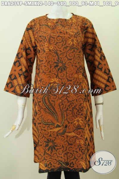 Dress Batik Elegan Dan Mewah Model Terbaru Pakai Resleting Belakang Motif Klasik Printing Tampil Berkelas [DR6239P-M]