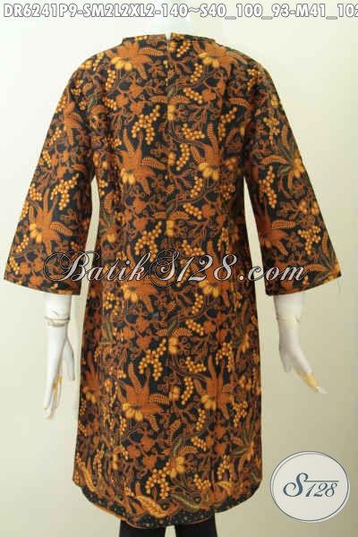 Busana Batik Dress Motif Klasik, Baju Batik Elegan Proses Printing Buatan Solo Di Lengkapi Resleting Belakang Trend Mode Masa Kini [DR6241P-L]