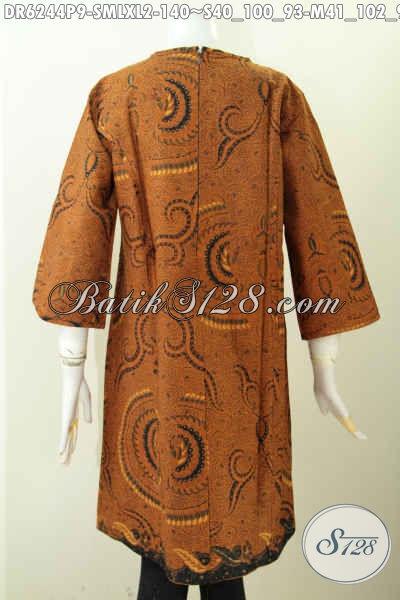Jual Online Dress Batik Klasik Model Terkini Pakai Resleting Belakang, Pakaian Batik Modis Halus Proses Printing Untuk Seragam Kerja Dan Acara Resmi [DR6244P-M]