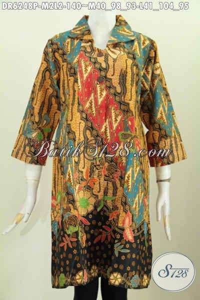 Dress Batik Halus Motif Klasik Printing, Pakaian Batik Elegan Berkelas Desain Lengan Opneisel Tampil Makin Sempurna [DR6248P-M , L]