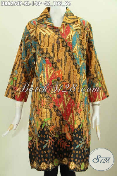 Busana Dress Batik Jawa Tengah, Baju Batik Klasik Istimewa Bahan Adem Motif Klasik Printing Desain Lengan Opneisel [DR6250P-XL]