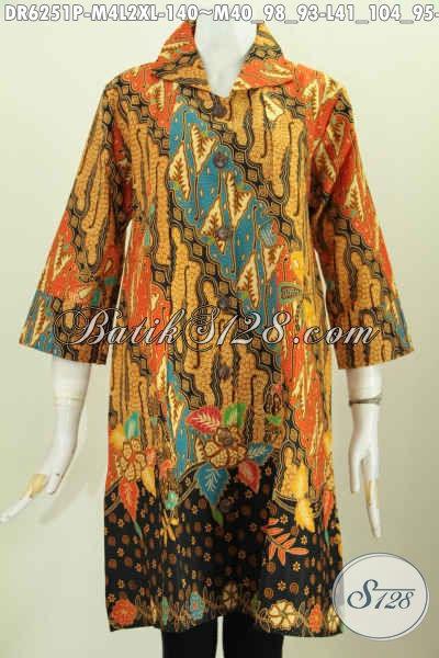 Koleksi Terkini Dress Batik Jawa Elegan Berkelas Motif Klasik, Pakaian Batik Lengan Opneisel Untuk Kerja Dan Acara Formal [DR6251P-M , L]