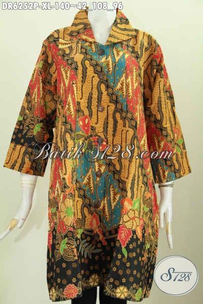 Baju Dress Batik Solo Istimewa, Pakaian Batik Halus Proses Printing Motif Klasik Lengan Opneisel Untuk Penampilan Lebih Mempesona [DR6252P-XL]