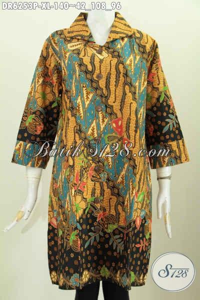 Jual Online Dress Batik Lengan Opneisel, Baju Batik Halus Motif Klasik Proses Printing Pakai Kerah Harga 140 Ribu [DR6253P-XL]