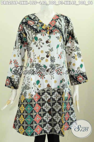 Batik Baju Kerja Nan Trendy, Dress Batik Kerah V Bahan Halus Proses Printing Desain Modern Untuk Tampil Lebih Cantik Maksimal [DR6256P-XXL]