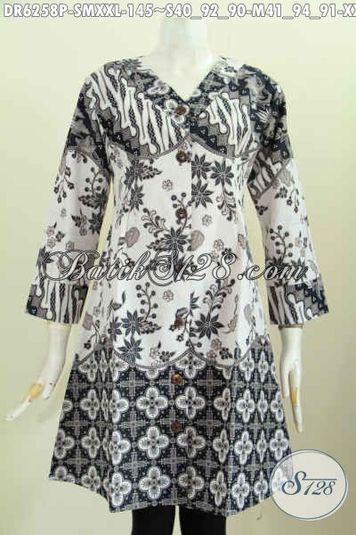 Baju Batik Dress Solo Model Krah V, Busana Batik Elegan Masa Kini Motif Bagus Proses Printing Hanya 145K [DR6258P-M]