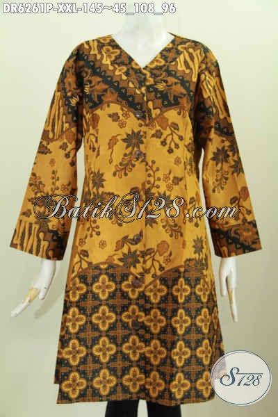 Jual Online Dress Kerah V Warna Elegan Motif Bagus Printing, Busana Batik Wanita Gemuk 3L Untuk Penampilan Lebih Berkelas [DR6261P-XXL]