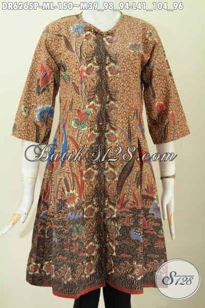 Baju Batik Elegan Desain Tanpa Krah, Baju Batik Dress Solo Istimewa Proses Printing Harga 150K, Cocok Untuk Santai Dan Formal [DR6265P-M]