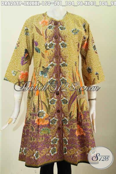 Baju Dress Kwalitas Bagus Bahan Adem Proses Printing Motif Keren Buatan Solo Desain Tanpa Krah Untuk Penampilan Makin Modis [DR6268P-L]
