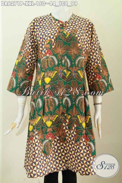 Baju Batik Wanita Gemuk, Pakaian Batik Dress Tanpa Krah Size 3L, Bahan Adem Proses Printing Hanya 100 Ribuan [DR6271P-XXL]