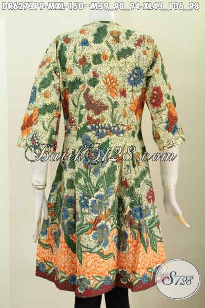 Aneka Busana Batik Solo Terkini, Baju Batik Modis Keren Model Tanpa Krah, Dress Batik Modern Bikin Penampilan Makin Gaya [DR6273P-M]