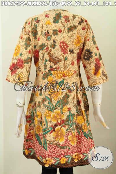 Busana Batik Yang Bikin Wanita Terlihat Istimewa, Dress Batik Tanpa Krah Motif Bunga Proses Printing Harga 150K Asli Solo [DR6274P-M]