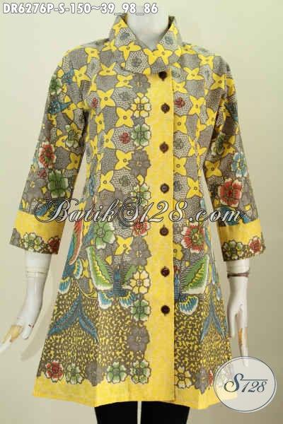 Baju Dress Batik Solo Dengan Model Terbaru Kerah Miring Berpadu Motif Berkelas Proses Printing Di Jual 150 Ribu [DR6276P-S]
