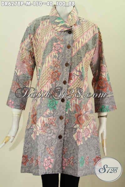 Baju Batik Motif Bunga Keren Model Kerah Miring, Pakaian Batik Istimewa Dari Solo Untuk Penampil Lebih Bergaya Dan Mempesona [DR6278P-M]