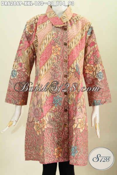 Baju Dress Kerah Miring Size XXL, Pakaian Batik Wanita Gemuk Dengan Motif Terkini Menunjang Penampilan Lebih Rapi Dan Istimewa [DR6286P-XXL]