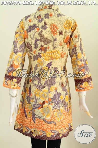 Aneka Baju Batik Wanita Muda Dan Dewasa, Dress Batik Kerah Miring Istimewa Buatan Solo Proses Printing Hanya 150K [DR6287P-M]