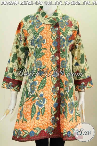Busana Batik Elegan Desain Mewah Kerah Miring Bahan Adem Motif Bunga Proses Printing Hanya 150 Ribu, Cocok Juga Untuk Kondangan [DR6289P-L]