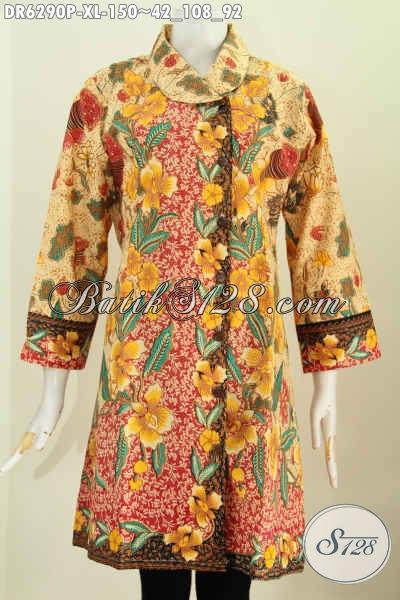 Sedia Baju Batik Solo Halus Ukuran XL, Dress Batik Model Terkini Kerah Miring Motif Bunga Printing Harga 150K [DR6290P-XL]