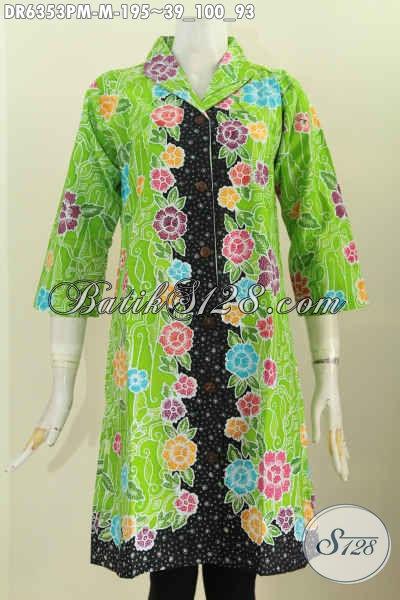 Baju Batik Bunga Bunga Kombinasi Warna Hijau Dan Hitam, Dress Batik Kerah Langsung Buatan Solo Bikin Wanita Makin Cantik [DR6353PM-M]