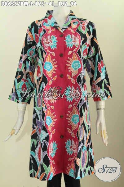 Jual Online Baju Batik Wanita Terkini, Pakaian Batik Solo Halus Model Kerah Langsung Bahan Adem Motif Proses Kombinasi Tulis Bisa Untuk Santai Dan Formal [DR6357PM-L]