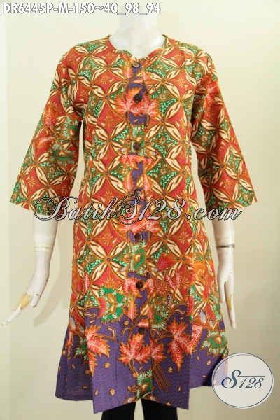 Dress Batik Motif Bagus Wanita Tampil Anggun Mempesona, Pakaian Batik Halus Tanpa Krah Kancing Depan Proses Printing Hanya 150K [DR6445P-M]