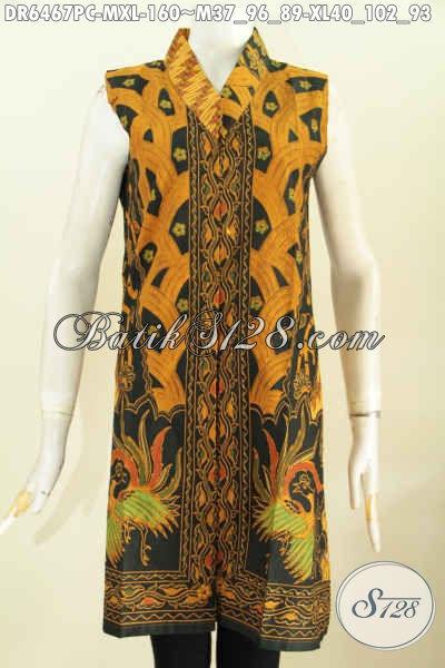 Busana Batik Terusan Model Tanpa Lengan, Baju Batik Klasik Sinaran Proses Print Colet Buatan Solo Asli Harga 160K [DR6467PC-M]