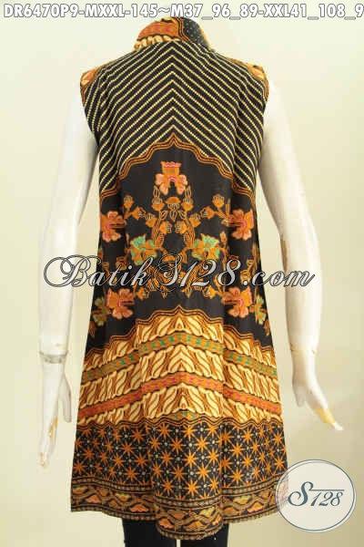 Baju Dress Batik Klasik Proses Printing, Busana Batik Keren ELegan Tanpa Lengan Bahan Adem Nyaman Di Pakai [DR6470P-M]