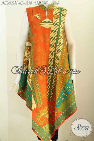 Jual Dress Batik Wanita Terbaru, Hadir Dengan Desain Tanpa Lengan Pake Resleting Belakang Bahan Halus Proses Printing Motif Mewah Hanya 100 Ribuan [DR6487P-M]