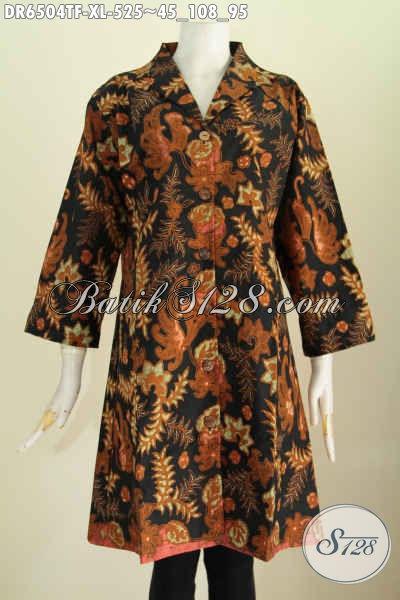 Busana Batik Wanita Karir, Baju Batik Mahal Mewah Modern Desain Dress Kerah Langsung Motif Terkini Proses Tulis Daleman Full Tricot [DR6504TF-XL]