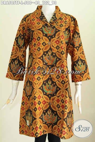 Jual Online Dress Batik Motif Klasik, Baju Batik Full Tricot Bahan Adem Proses Tulis Untuk Peanmpilan Lebih Berkelas [DR6505TF-L]