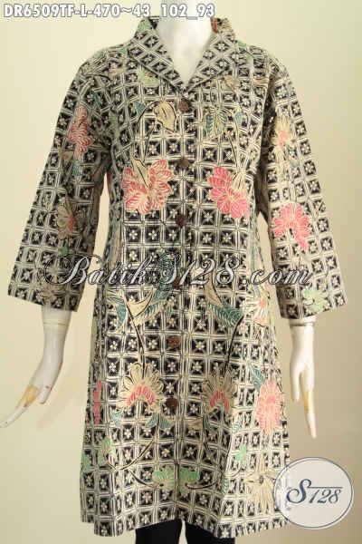 Baju Batik Tulis Motif Terkini, Dress Batik Halus Nan Mewah Daleman Full Tricot Buatan Solo Asli Model Kerah Langsung Modis Untuk Ke Kantor [DR6509TF-L]