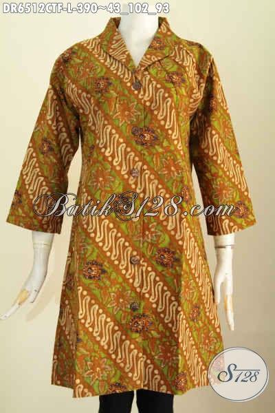 Dress Batik Klasik Cap Tulis Kawalitas Halus Lebih Mewah Dengan Lapisan Dalam Tricot, Baju Batik Kerah Langsung Untuk Tampil Lebih Gaya [DR6512CTF-L]